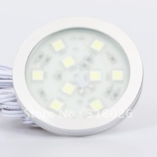 Round Small Simple SMD5050 LED Cabinet Light 9leds 12VDC Home Display Cabinet Show Case Furniture Decorative(Hong Kong)