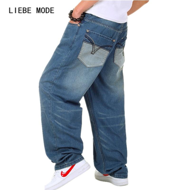 New Brand Fashion Designer Blue Bell Bottom Jeans Teenage Male Hot Casual Jeans Pants Hip Hop Denim Baggy Jeans Plus Size 40 46Îäåæäà è àêñåññóàðû<br><br>