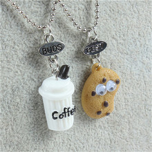 New Arrival Cute Best Friends pendant bead chain necklace fast food milk cookie biscuit Charms kids jewelry 2pcs/set