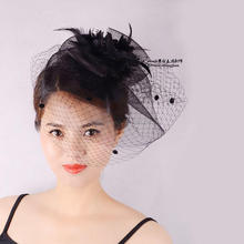 Purple Hot Pink Red Black Women Dotted Veil Fascinator Feather Headwear Mesh Hair Clip Show Stage Cocktail Fancy Hair Decoration