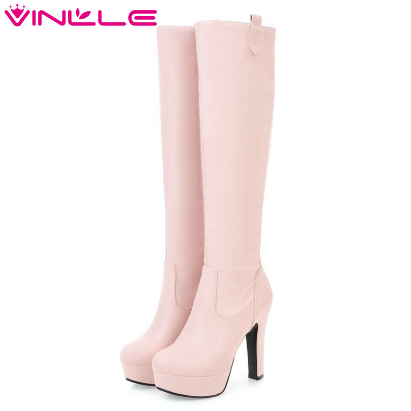 VINLLE 2018 Woman Boots Knee High Boots Square High Heel PU leather Women Shoes Slip On Ladies Motorcycle Boots Size 34-43<br>