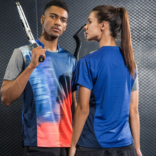 Multicolor Blue Running Gym fitness Sportswear Quick Dry breathable badminton shirt,Women/Men table tennis short sleeve T Shirts