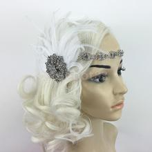 White Feather Silver Flapper Headband 1920s 30s Fancy Dress Bridal Hairband