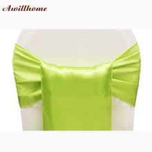 200pcs wedding chair decoration bows green free shipping apple green satin sashes(China)