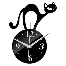 2018 modern New 3d Wall Clock cat Design Quartz Diy Clocks creative Stickers living room art safe Home Decor free Shipping