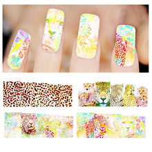 Watermark Nail Stickers Tiger Leopard Mix Designs Water Transfer Nail Stickers Water Decals DIY Decoration For Nails Art
