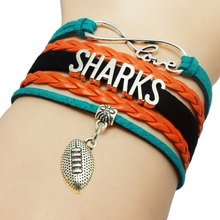 Infinity Love San Jose Sharks Baseball Team Bracelets Leather Suede Rope Charm Customize Friendship Wristband Women Bangle