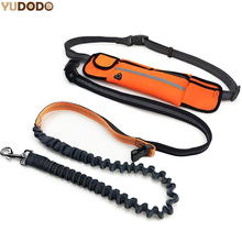 Hand Free Elastic Dog Leash Adjustable Padded Waist Reflective Running Jogging Walking Pet Lead Belt With Pouch Bags(China)