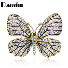 High Quality Butterfly Brooch Pin Crystal Rhinestone Beautiful Brooches For Women Dress Wedding Bridal Z017(China)