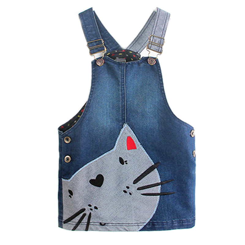 2017 baby girls clothes autumn girl suspender dress denim cartoon cute cat patchwork removable strap kid sleeveless strap dress <br><br>Aliexpress