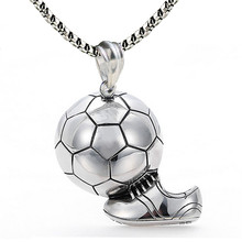 Sport Football Pendant Necklace Stainless Steel Chain Ball Soccer Necklace Charm Men Punk Sports Team Jewelry