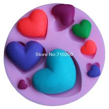 Heart shape Silicone 3D Mold Cookware Dining Bar Non-Stick Cake Decorating fondant mould tools C073