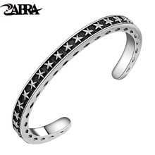 ZABRA Solid 925 Sterling Silver Wide 6mm Thickness 4mm Vintage Open Cuff Bangle Women Men Carving With Stars Opening Bracelet(China)