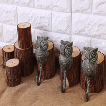 Wrought iron clothes hook wall hanging creative coat hanger owl shape hanger 2pcs/set