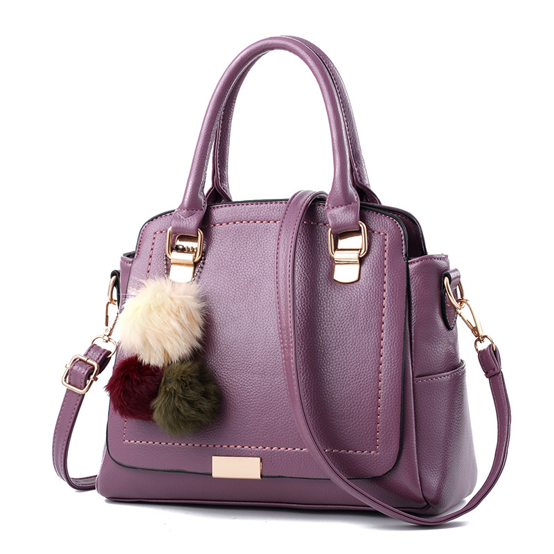 New Arrival PU Leather Pompon Bags Ladies Hairball Handbags Luxury Handbags Women Saffiano Faux Fur Ball Shoulder Crossbody Bags<br>