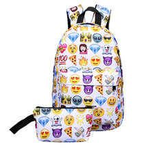 3D Backpack Waterproof Travel School Bag 2Pcs Nylon Cute Smile Print 5 Colors Vertical Square For Hiking Camping