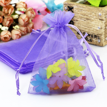 New Fashion 100pcs/lot 5x7cm Purple Organza Bag Mini Jewelry Bag Drawstring Pouch Favor Charms Earrings Packaging Bags Gift Bag(China)