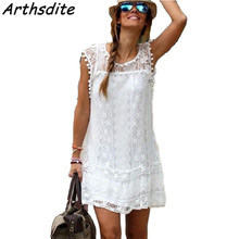 Buy Arthsdite Summer Dress 2018 Women Casual Beach Short Dress Tassel White Mini Lace Dress Sexy Party Dress Plus Size Vestidos 5XL for $8.99 in AliExpress store