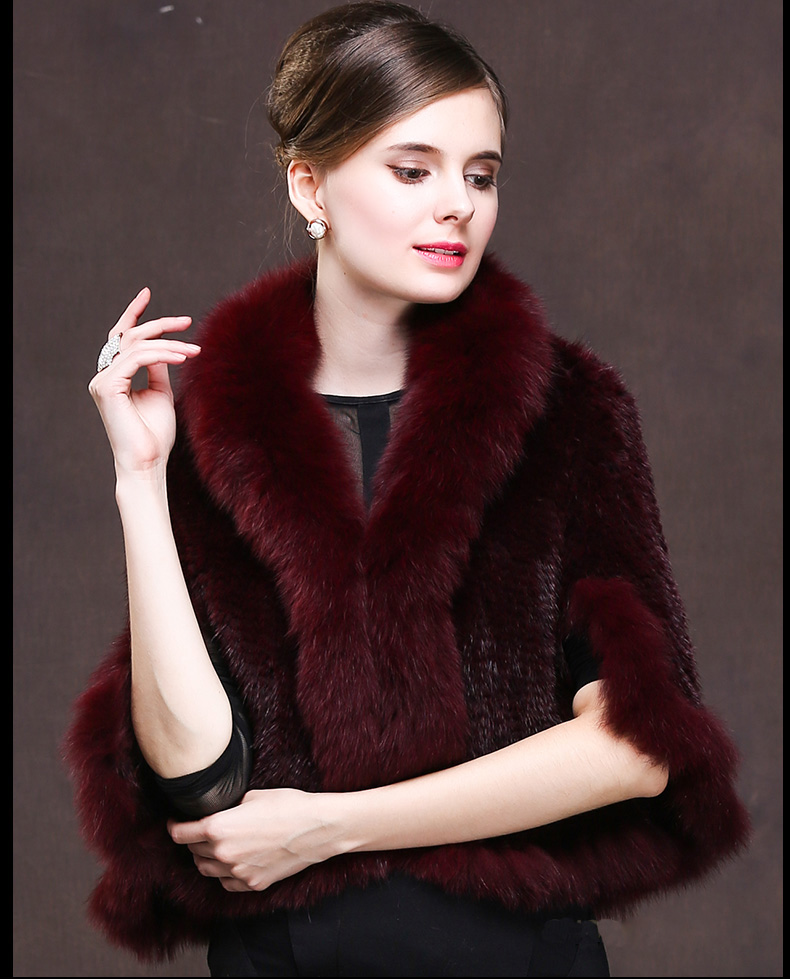 Winter Shawl Wrap Poncho Real Knit Mink Fur shawl With Fox Trimming Real fur Jacket coats party 2017 new (27)