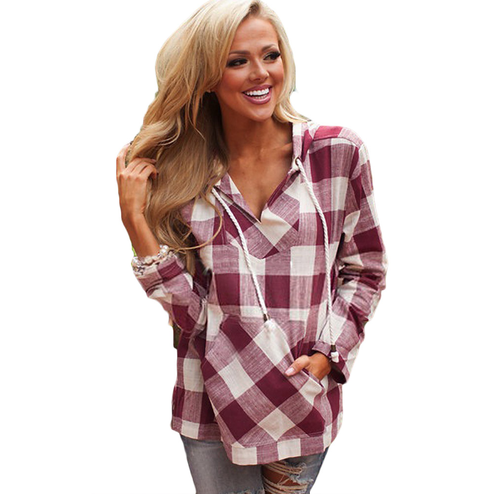 Plaid Hooded Tops Women Autumn Clothes V-Neck Sexy Women Clothing Long Sleeve Europen Fashion Pullovers Sweatshirt