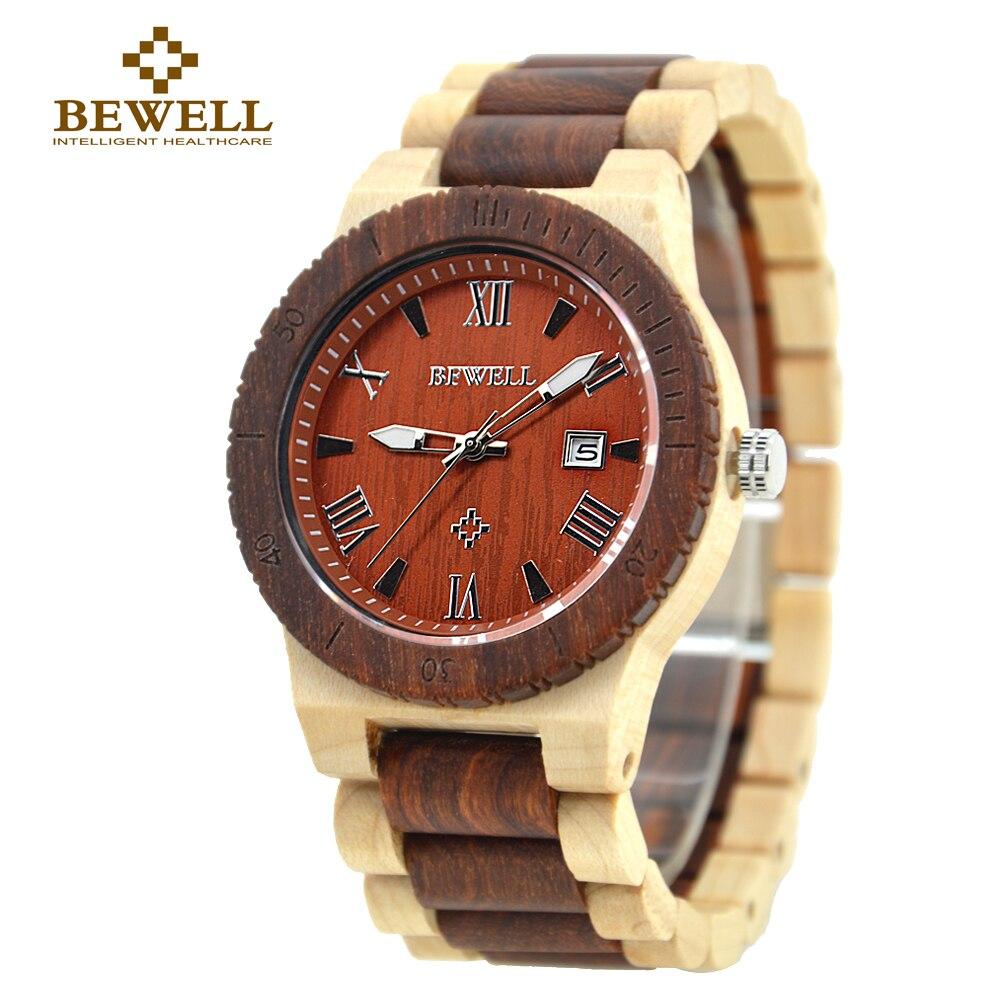 BEWELL Wooden Watch Men Lightweight Unique Wood Watch Men Luxury Brand Wrist Watch Quartz Men Watch with Calendar With box 109B<br>