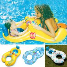 2017 new Inflatable baby swimming neck ring mother and child swimming circle double swimming rings float seat piscine(China)