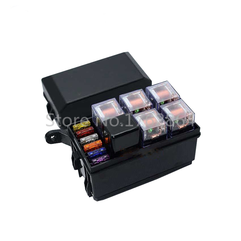 6 Way Auto fuse box assembly 12V with 40A + 4Pin 40A relay and fuses, Auto car insurance tablets fuse box mounting fuse box<br><br>Aliexpress