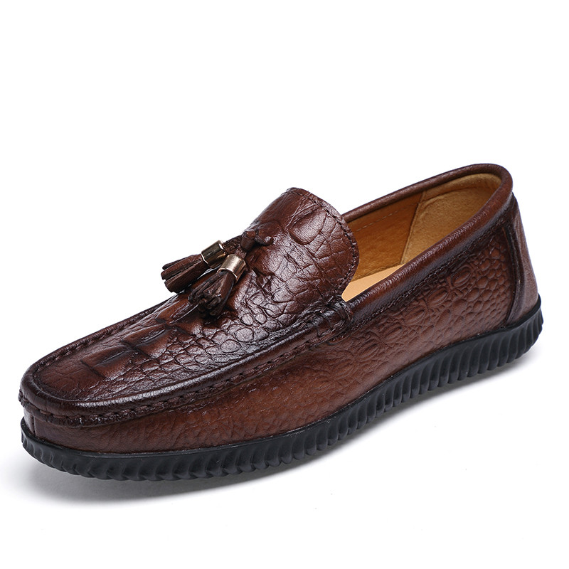 Alligator Natural Leather Men Shoes Casual Moccasins Men Loafers Fringe Vintage High Quality<br>