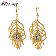 KISS ME 2017 Gold Color Crystal Leaf Dangle Earrings Chandelier Women Jewelry New Arrival Big Earrings