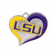 Skyrim 10pieces/lot LSU Tigers football enamel single side charms Zinc Alloy Heart Shape Pendant Jewelry Gift(China)