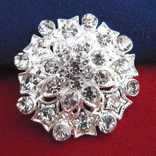 12PCS/LOT Silver Plated Clear Crystal Small Flower Wedding Invitation Brooch Flower Cake Brooch