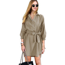 Sexy Fashion Autumn Women Shirt Dress Green Belt V Neck Long Sleeve Vintage Short Mini Woman Dresses Female Vestidos(China)