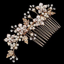 New Wedding Hair Flower Comb Bridal Hair comb Gold Leaf hair comb Gold Flower Wedding Hair accessories(China)
