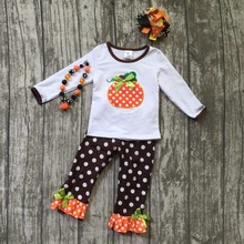 Halloween FALL/Winter baby kids outfits dot pumpkin pant sets girls long sleeve boutique clothes matching hairbow and necklace
