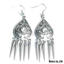 Antique Silver Carved Triangle Shields Fashion Vintage Drop Dangle Earrings Retail Jewelry Jewellery Gift For Women Girls