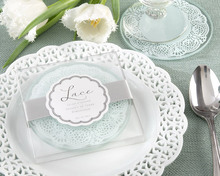 New Arrival Glass Coasters in Lace Design Wedding Gifts Glass Cup 2pcs in one package wedding souvenir Party Favor