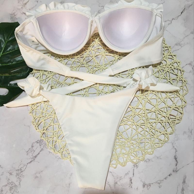 Padded Push Up Bikini Set Underwire Flower Ruffles Swimsuit For Women Sexy Solid Bandeau Female Bathing Suit 18 Summer Biquini 19