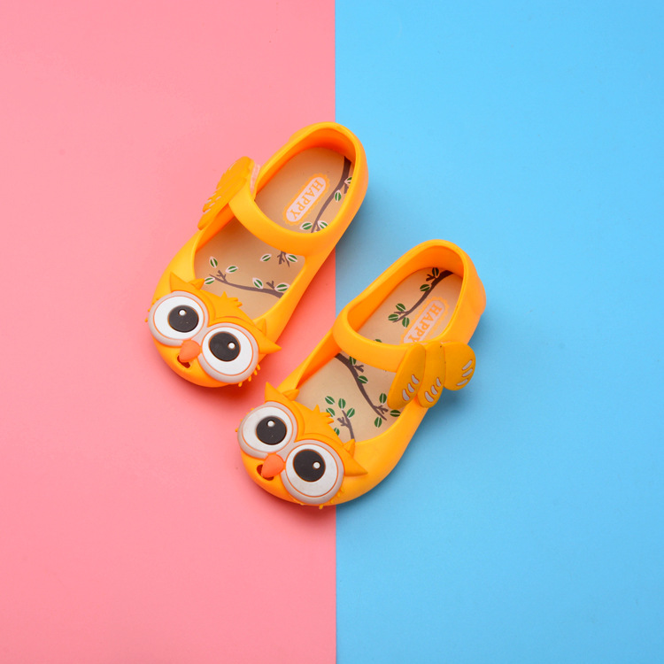12Pairs DHL Cute Owl 4 Colors Little Girl Jelly Sandals For Baby Girls Sandalen Summer Cute Bird Beach Shoes 13-17CM Insoles