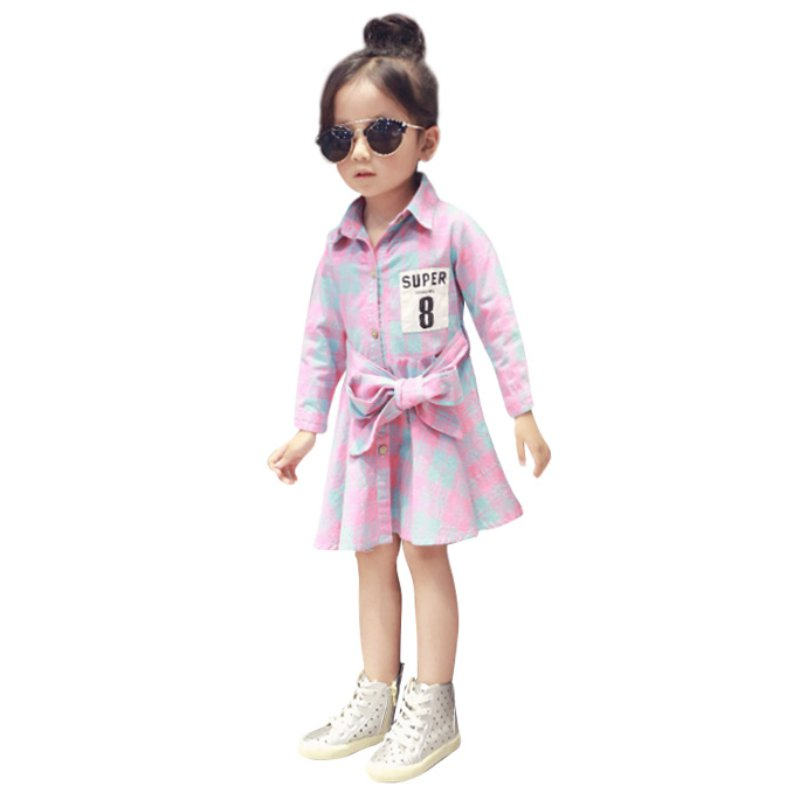 New Fashion Kid Girls Dresses Long Sleeve Ruffle Cotton Dress Party Gril Bow Clothing X16<br><br>Aliexpress