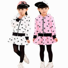 Thick Spring Autumn Baby Girls Cotton Hoodie Skirt Suit Kids Fashion Cartoon Casual Cardigan Sweater Set Children Sporting Wear