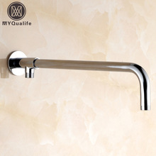 Newly Free Shipping Wholesale And Retail Modern Chrome Finished Solid Brass G1/2 Shower Head Fixed Pipe Shower Arm Wall Mounted