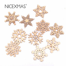 10pcs Christmas Wooden Snowflakes Hanging Ornament Decoration Drop Pendants with String(Wood Color)(China)