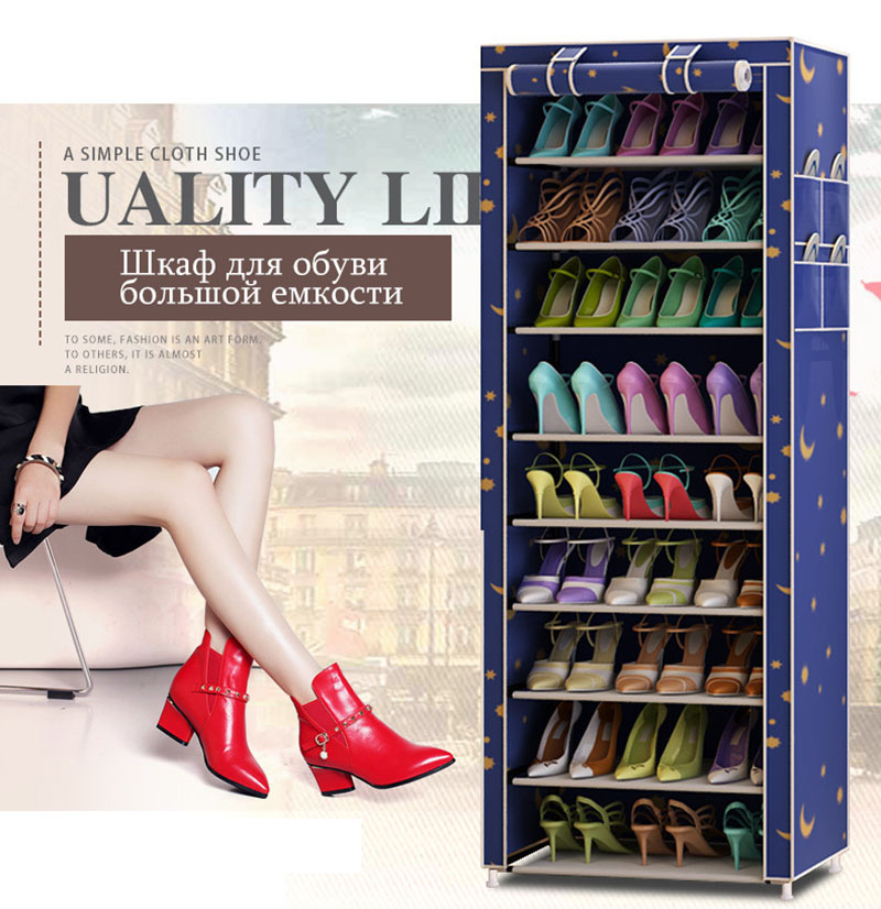 Multi-purpose Oxford Cloth Dustproof Waterproof Shoes Cabinet Shoes Racks 10 Layers 9 Grids Shoe Organizer Shelf Shoes Furniture 3