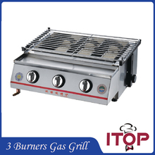 Gas BBQ Grill 3 Burners Barbecue Stove Adjustable Height Smokeless Outdoor Garden Picnic