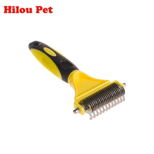 Classic Double Blades Side Pet Fur Dog Brush Cat Grooming Deshedding Trimmer Tool Dog Comb Pet Brush Rake(China)