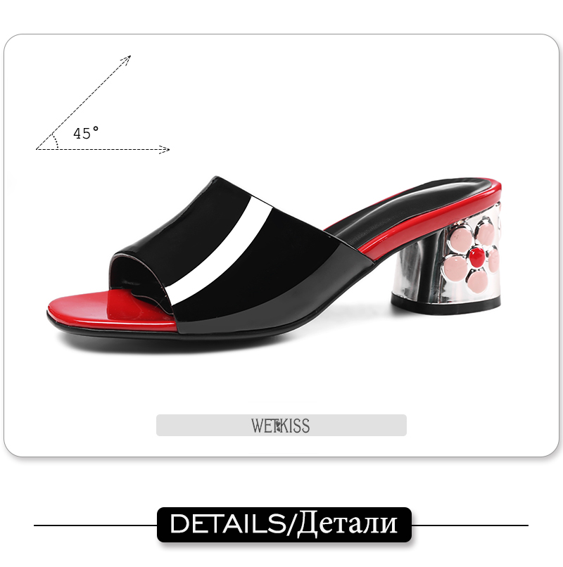 WETKISS 2018 Ladies Slippers Genuine Leather Flower Heels Mules Women Dress Shoes Woman Open toe Summer Footwear Female Slides