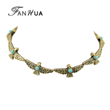FANHUA Boho Necklace Indian Jewelry Antique Gold-Color Silver Color Bird Choker Maxi Necklace with Blue Stone Ethnic Accessories