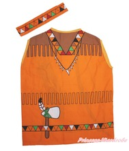 Halloween Indigenous People Headband Vest Top Unisex Kids Party Costume Set(Hong Kong)