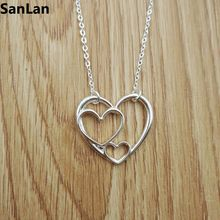 1pcs drop shipping Three Generations Mother and Child 3 Heart Necklace beautiful Triple Heart necklace christmas gift SanLan(China)