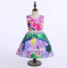 2017 New Purple Kids Dresses For Girls Fancy Halloween Costume Cartoon Little Pony Tutu Dress Rainbow Print Kids Prom Party Wear